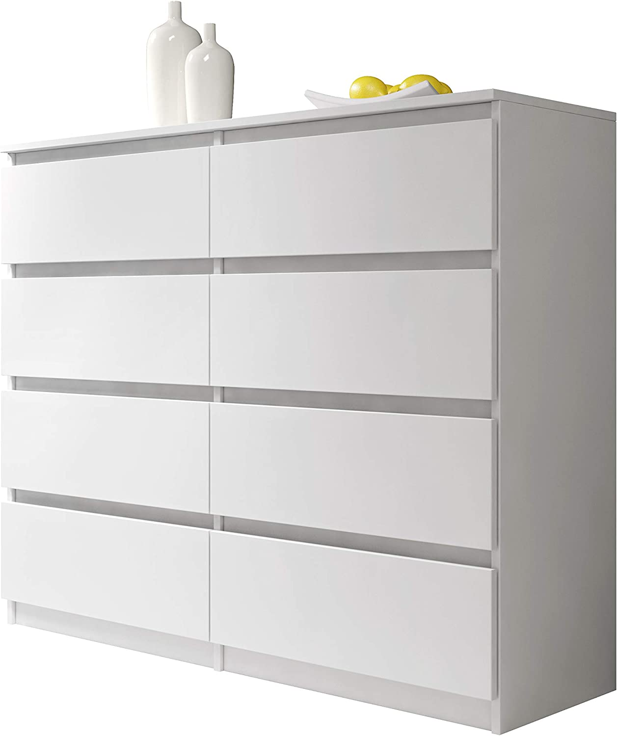 Furnix Perfect chest of drawers/sideboard Arenal 8 White 10 cm White