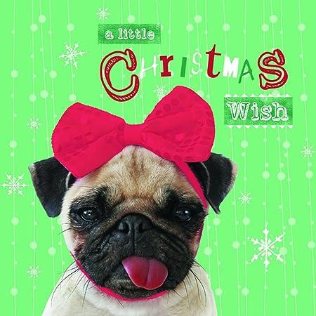 A de perro carlino para Navidad tarjetas navideñas - 10 unidades ...