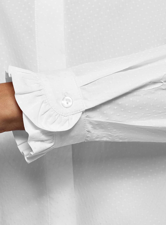 oodji Ultra Mujer Camisa con Volantes en el Cuello