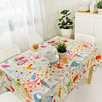 Attrayant Hoomy Cute Bird Table Cloth For Spring Durable Cotton Tablecloths Cute  Dinning Table Overlays Modern Colorful