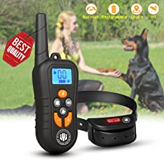 Dog Training Collar,Shock Bark Training Collar with NO Hurt and Rechargeable and IP7 Level Waterproof with 1800FT Remote Beep/vibration/Shock Electronic Collar Modes for Small Medium Large Dogs
