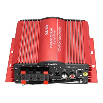 KKmoon HiFi Audio Estéreo Amplificador 4 Canales Subwoofer Coche MP3 Altavoz USB SD FM: Amazon.es: Coche y moto