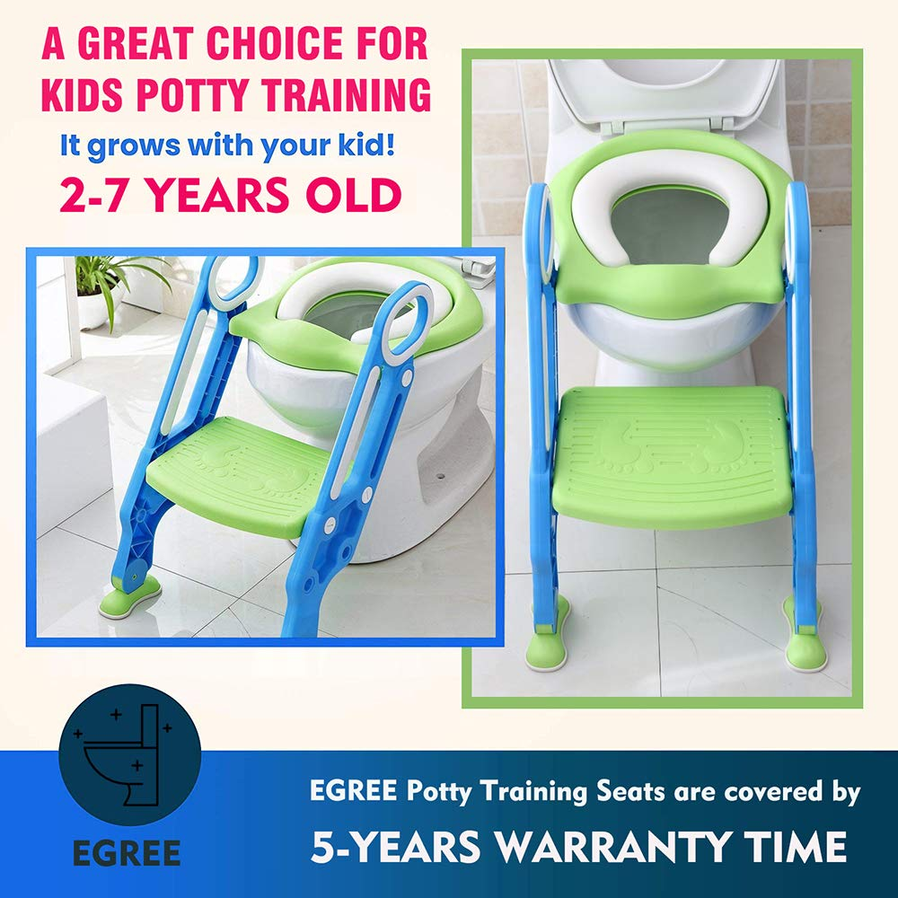 EGREE Potty Training Toilet Seat with Ladder Steps for Kids and Toddler Childrens Toilet Training Chair with Soft Padded Seat Non-Slip Wide Step and Safety Handles Girls Pink and White