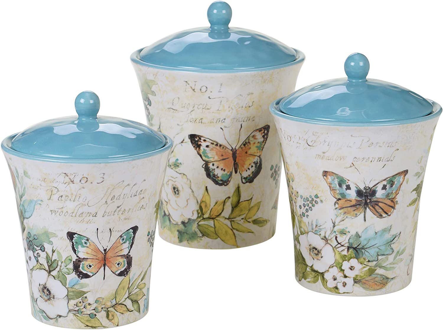 Certified International Nature Garden Canister Set 3 pc, Multicolored