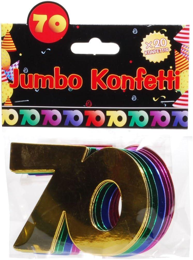 Udo Schmidt Coriandoli Jumbo con Numeri 70 Multicolore Decorazione da Tavolo per Compleanno