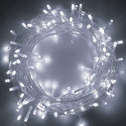 Twinkle Star 83ft 200 Led String Lights White Plug In String Lights 8 Modes Waterproof Indoor Outdoor Christmas Tree Wedding Party Bedroom Wall