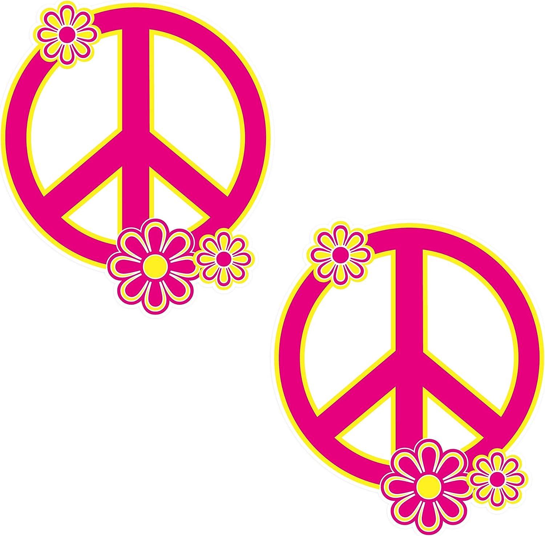 Peace Sign Sticker Vinyl Decal Floral Design 2 Pack