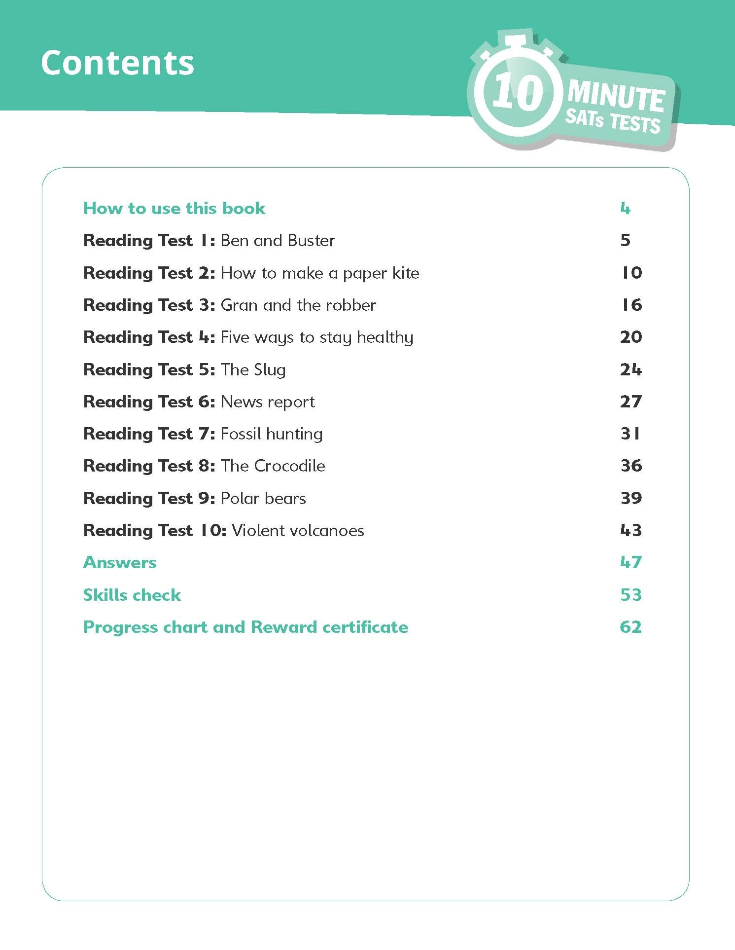 10-Minute SATs Tests for Reading - Year 3 (Ages 7-8)  Quick tests