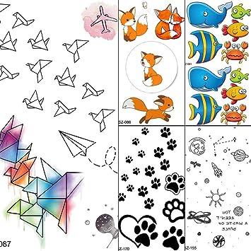 Tatuajes Temporales Niños Acuarela Dibujos Animados Niños Tatuaje ...