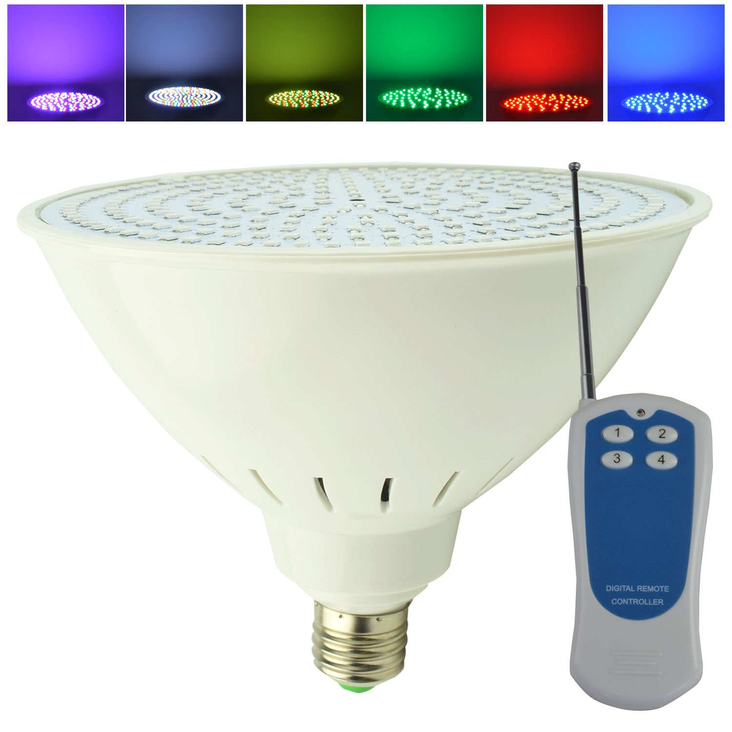 Aliyeah 35W PAR56 E27 RGB Color Changing LED Inground Pool Light with Remote 300-500W Incandescent Bulb Replacement for Pentair Hayward Light Fixture (switch control + remote control ) (120V)
