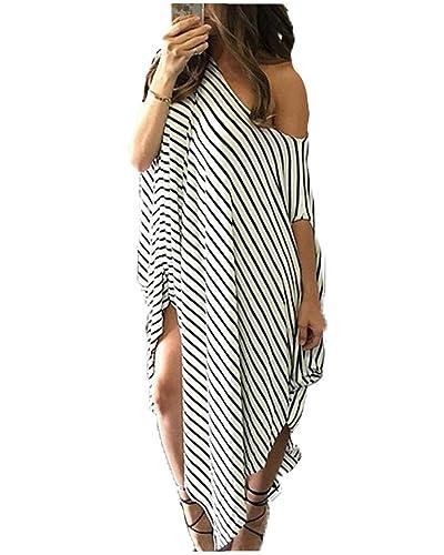 Abito Irregolare Donna Vestiti a Righe Lungo Vestito Monospalla Elegante Abiti da Spiaggia Strisce B...