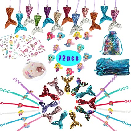 Mermaid Party Favors Supplies,Mermaid Bracelet Ring Hair Clip Necklace Sticker