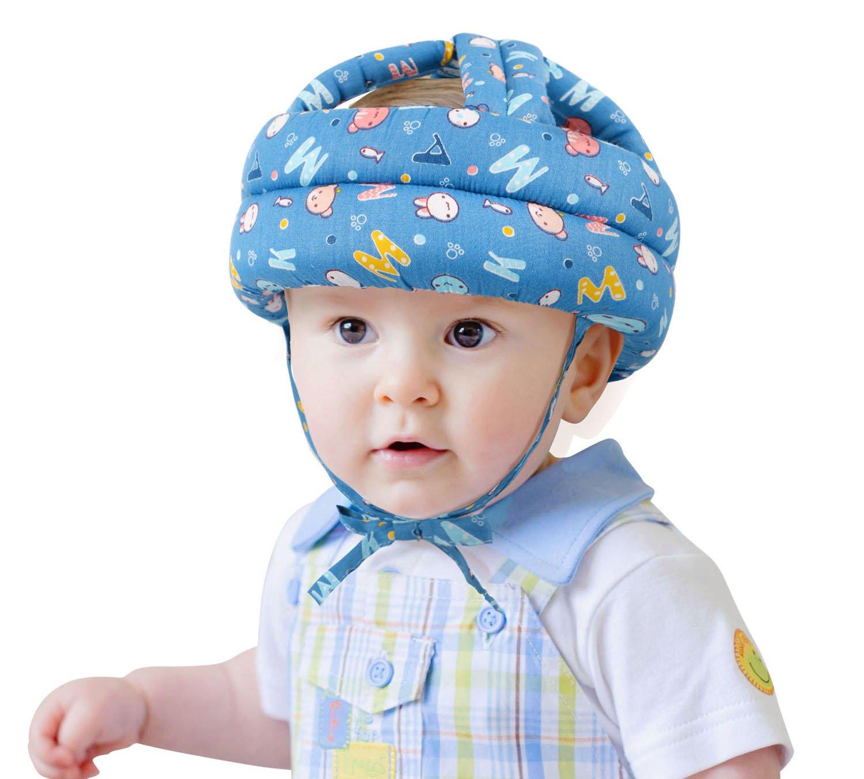 Baby Toddler's Safety Bumper Helmet Hat, Blue Background Letter Apollo