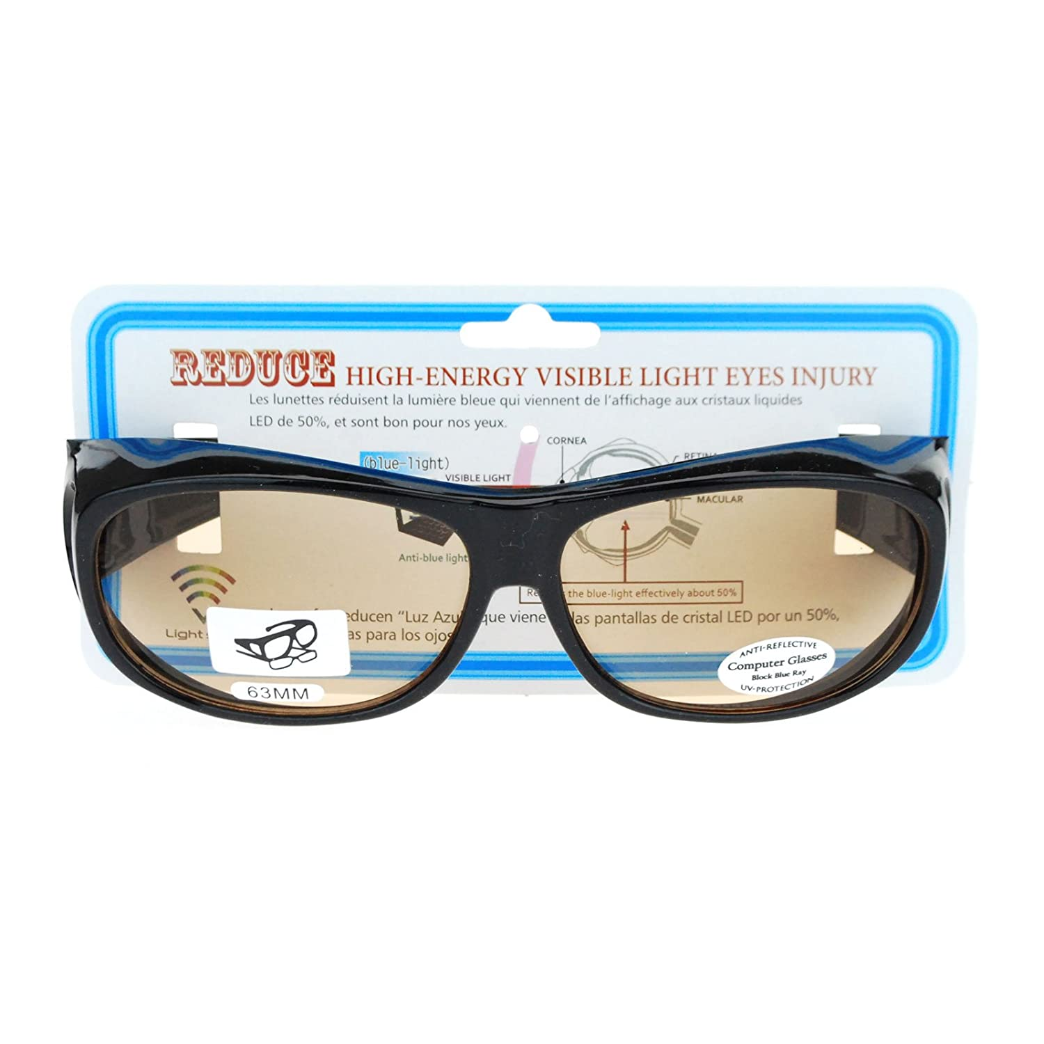 87b3f2cd7c Amazon.com  Fit Over 63mm UV Vision Protection Anti Reflective Computer  Glasses Black  Clothing