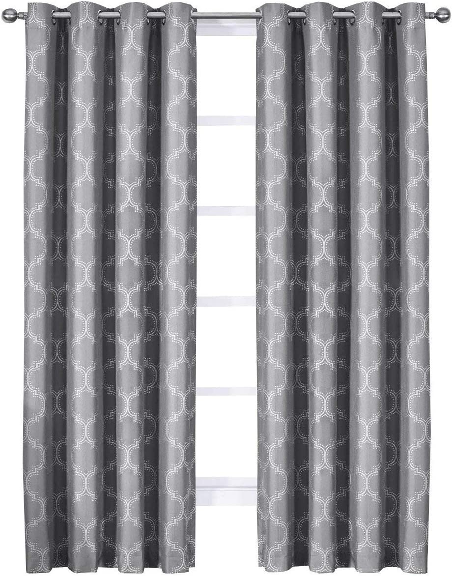 Royal Bedding Alana Gray Curtains, Top Grommet 100 Blackout, Thermal Insulated Window Curtain Panels, Pair Set of 2 Panels, 54Wx108L inches Each