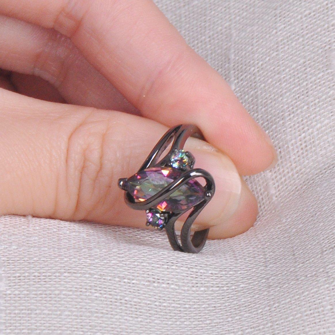 Bamos Jewelry Womens Rainbow Lab Topaz Promise Black Gold Ring ...