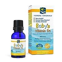 Nordic Naturals Baby's Vitamin D3, Unflavored - 400 IU Vitamin D3 - 0.37 oz - Healthy Bones, Immune System Support, Normal Sleep Rhythms - Non-GMO, Certified Vegetarian - 365 Servings