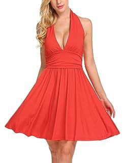 9a7ba0bc94 SE MIU Women Sexy V Neck Halter Sleeveless Party Cocktail Mini Casual Short  Dress