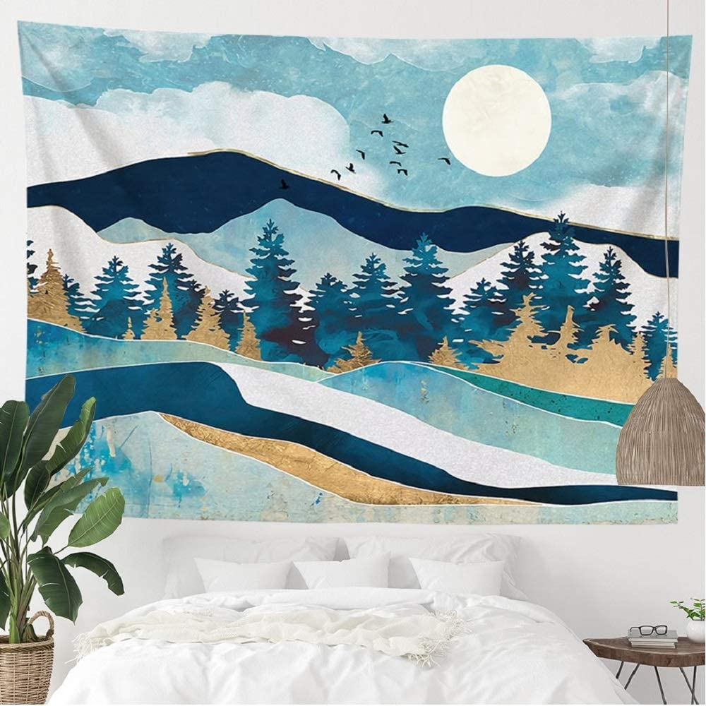 ANROYE Blue Mountain Landscape Tapestry Wall Hanging, Nature Forest Tree Theme Large Tapestries Fits Home Dorm Living Room Bedroom Decor for Men and Women with Non-Mark Hooks & Clips 51x59 Inches