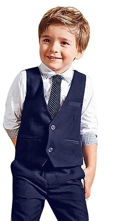 521256aad2dc1 ❤️LILICAT Bébé Garçons Gentleman Costumes de Mariage Chemises + Gilet +  Long Pantalon + Cravate