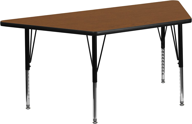 Flash Furniture 25''W x 45''L Trapezoid Oak HP Laminate Activity Table - Height Adjustable Short Legs
