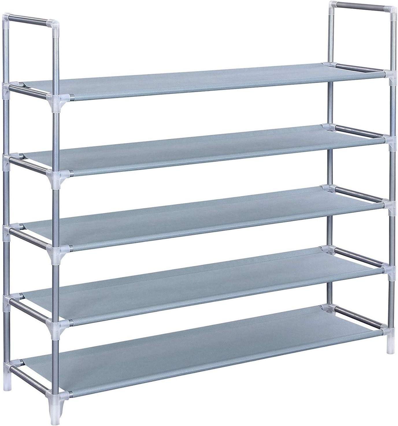 5 Tiers Shoe Organizer,Shoe Rack,Closet Shoe Organizer, Space Saving Shoe Tower Cabinet Stackable Shelves