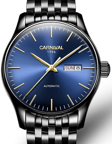 Suiza marca de lujo Carnaval reloj automático mecánico hombres zafiro relojes de acero: Amazon.es: Relojes