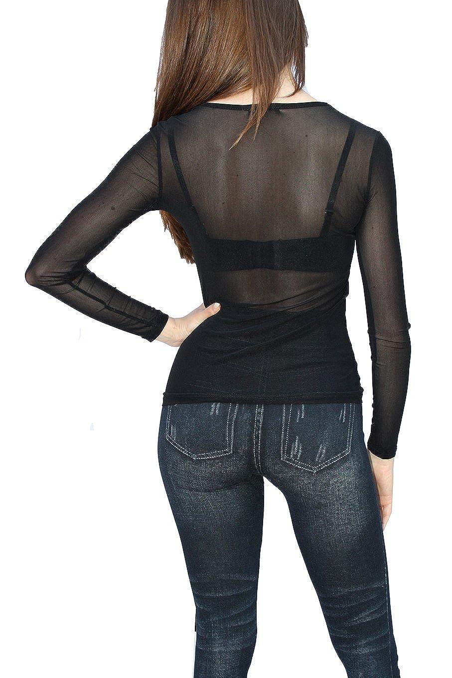 Femme Vintage Transparent Tulle  à manches longues Tunique  forme T-shirt S  M L 1ed7780e718c