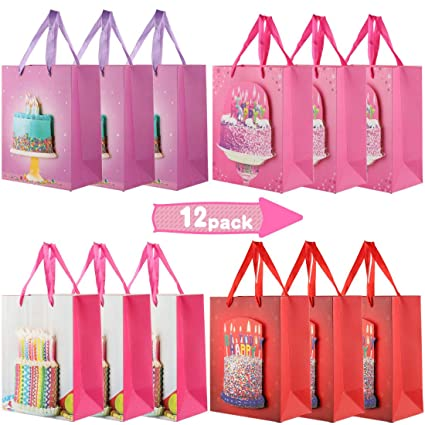 Amazon.com: Bolsas de regalo para fiesta, 12 paquetes de ...
