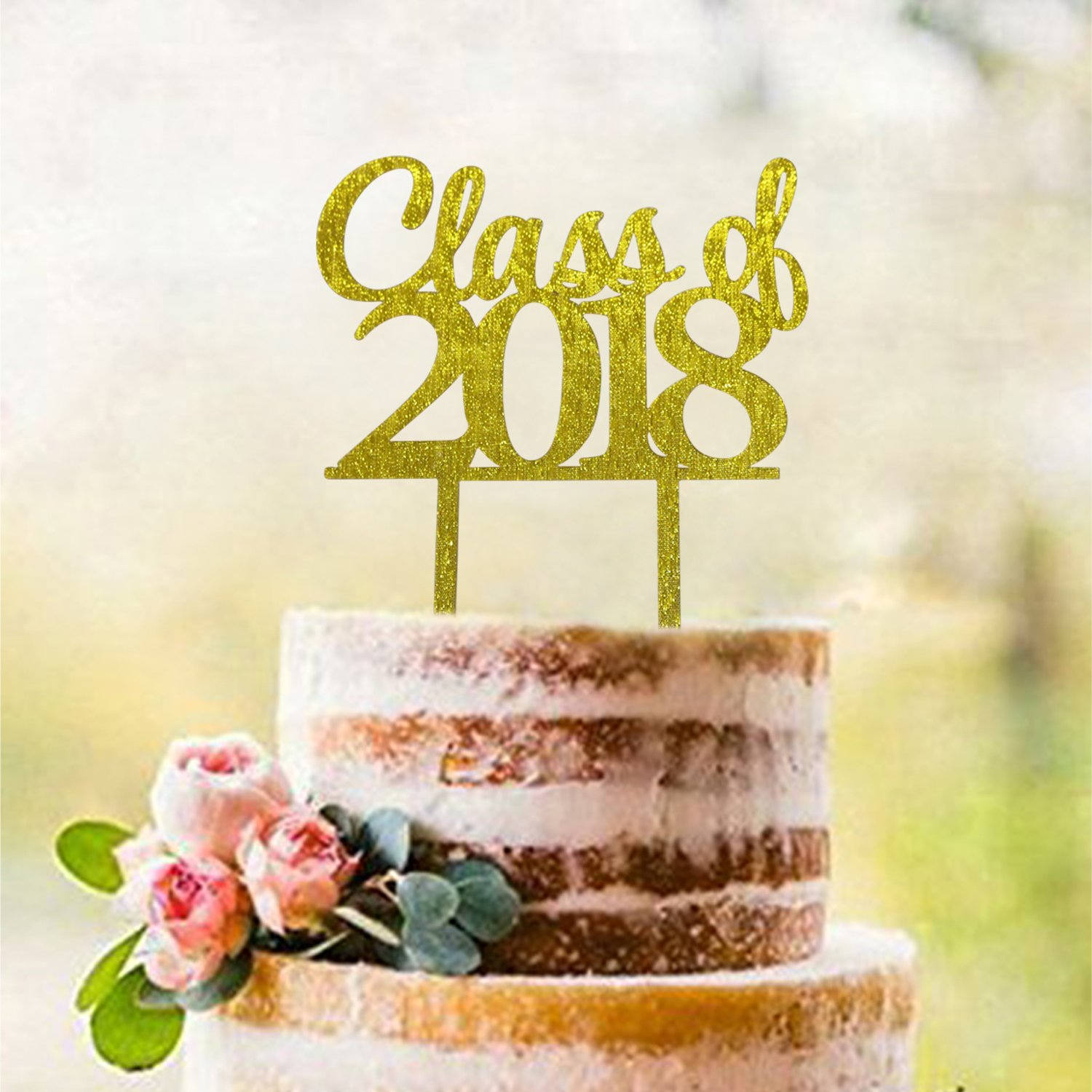 Amazon.com: Gold Class of 2018 Cake Topper | Graduation Cake Toppers ...