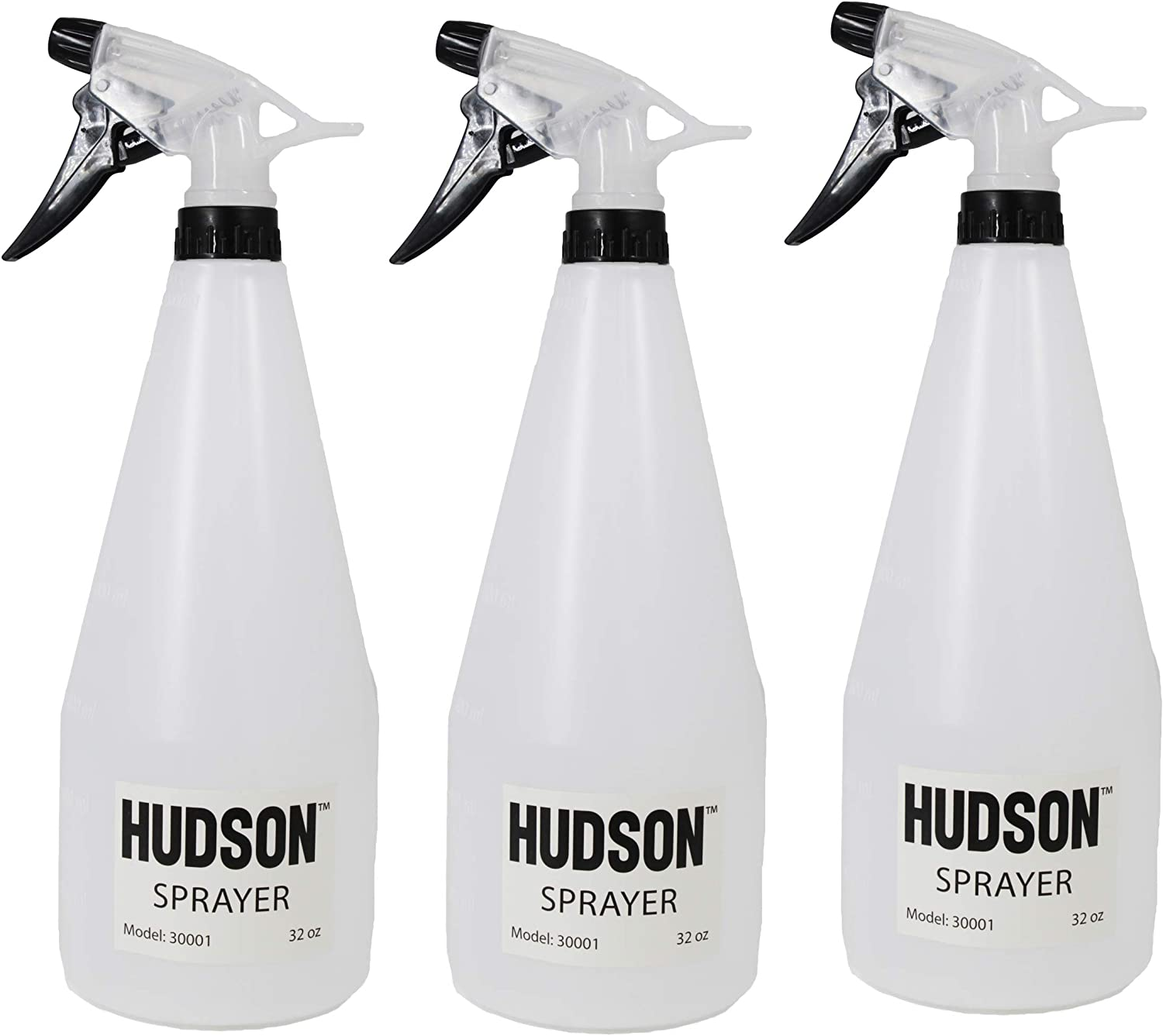 Hudson Sprayer 32 Oz Spray Bottle (Pack of 3) Trigger Empty Sprayer, for Use with Household & Commercial Cleaners