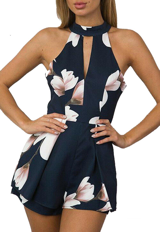 NANYUAYA Women Sleeveless Backless Halter Floral Print Outfit Jumpsuit Short Pants