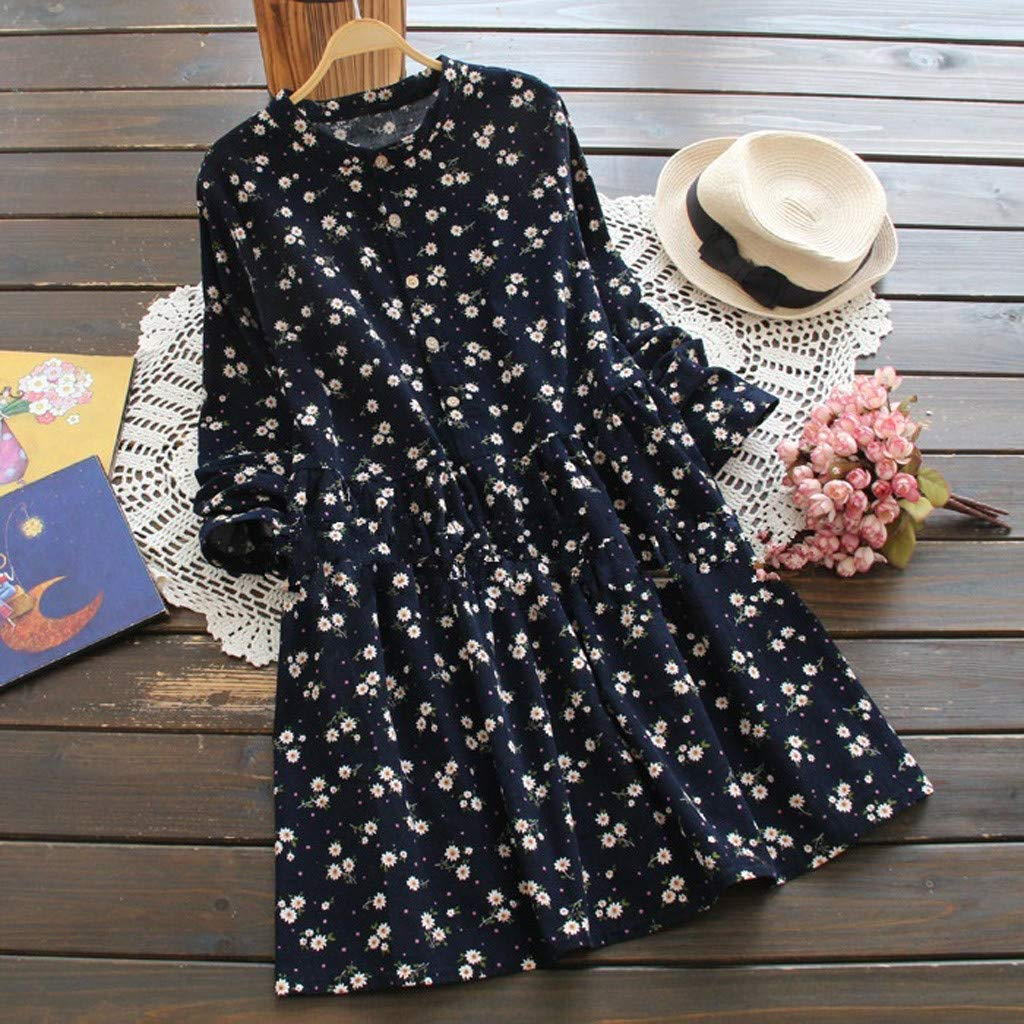 Excursion Clothing Women Girls Casual Lolita Long Sleeved Roun Neck Corduroy Floral Printed Dress Vintage Button Swing Dresses by Excursion Clothing