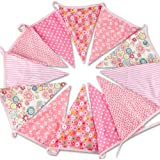 G2PLUS Extra Large Bunting 12 Feet Flag Banner Pennant Flag Garlands Fabric Triangle Flags Double Sided Vintage Cloth Shabby Chic Decoration for Birthday Parties Ceremonies Kitchen Bedrooms (Pink)