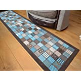 Trend Brown Teal Window Design Rug. Available in 8 Sizes (60cm x 225cm)