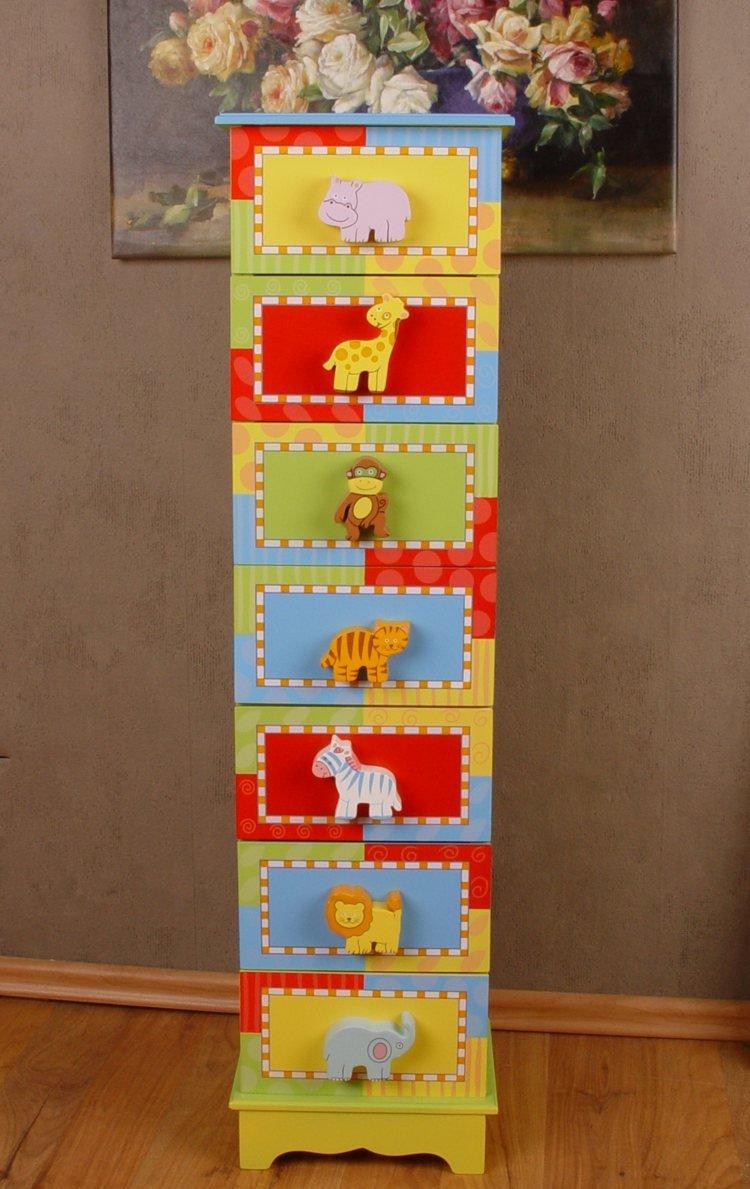 Zauberhafte Kinderzimmer Kommode Tierwelt Afrikas Bunt Palazzo