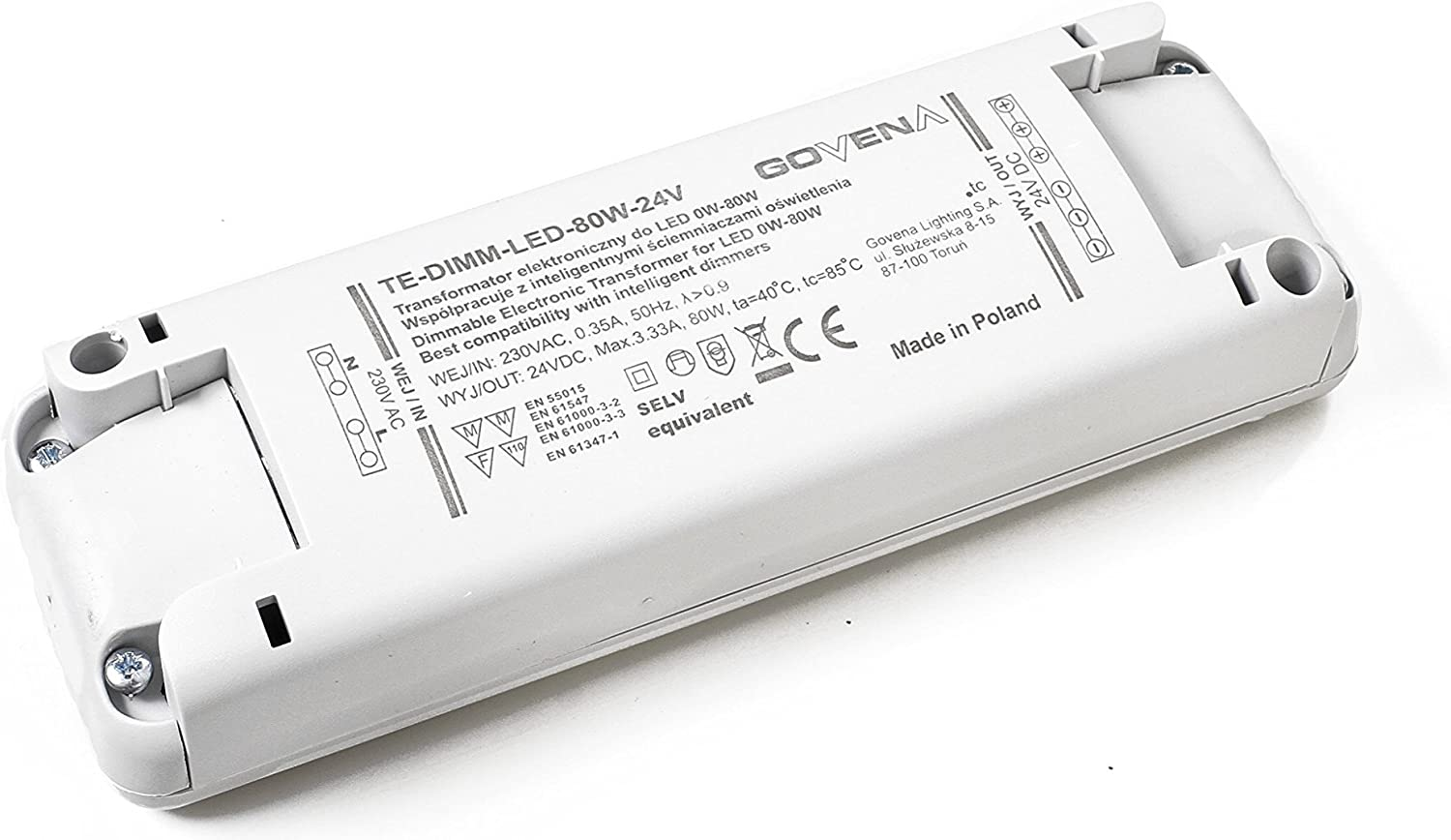 0W-80W 24Vdc Dimmable LED Driver/Electronic Transformer, TE80W-DIMM-LED-24V