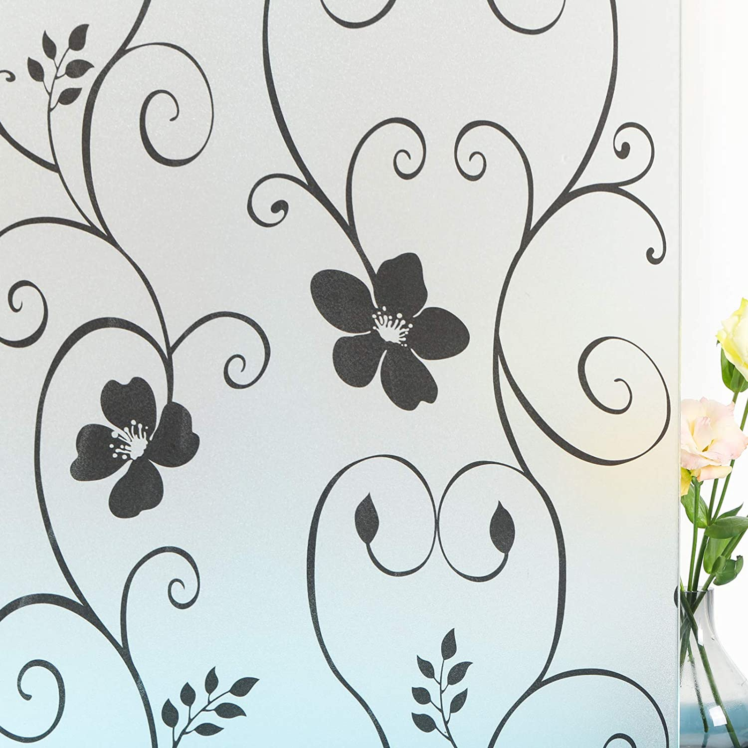 Mikomer Decorative Window Film,Black Flower Static Cling Privacy Door Film, Non Adhesive Heat Control Anti UV Window Cling for Office and Home,17.5 inches by 78.7 inches
