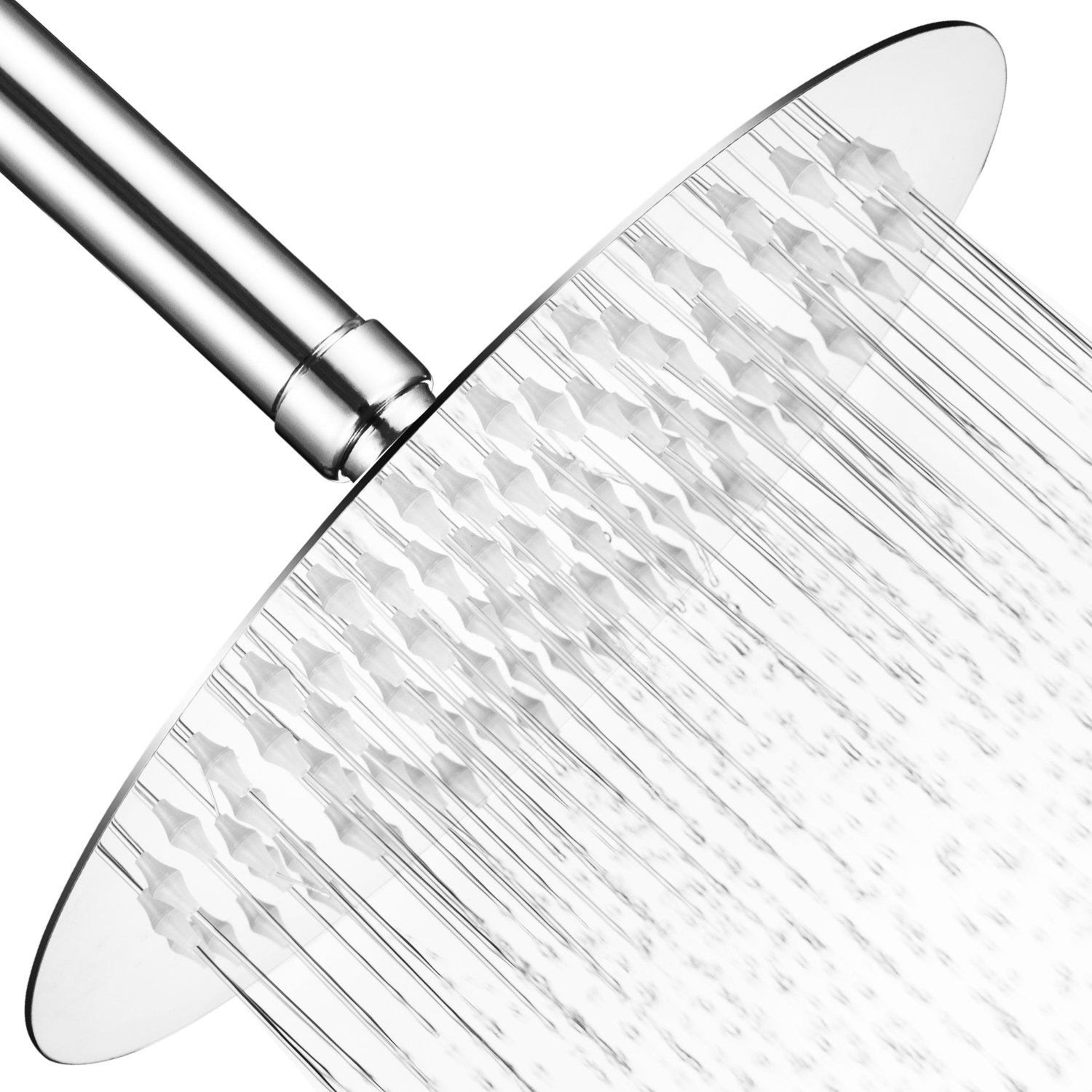 M.HOUSE High Pressure Shower Head 8 inch Stainless Steel Chrome Rain Showerhead with Swivel 360 Degree Adjustable