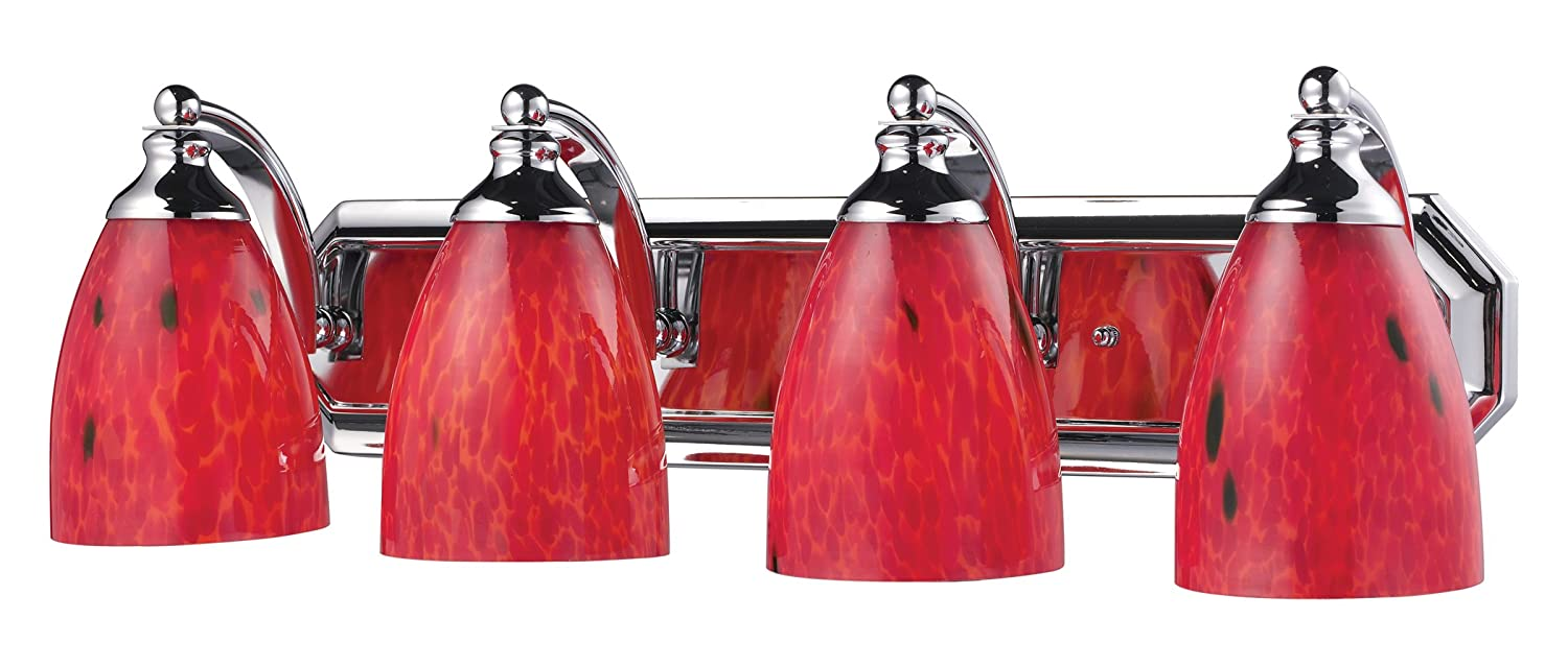 Elk 570-4B-FR 4-Light Vanity in Aged Bronze and Fire Red Glass