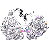 V-EWIGE Elegant Swan Lover Swarovski Element Crystal Brooch Pin Pure