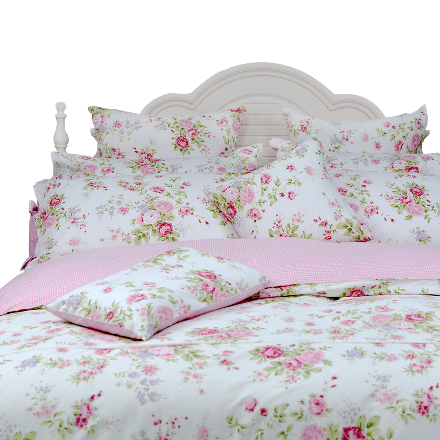 FADFAY Rose Floral Duvet Cover Set Pink Grid Cotton Girls Bedding with Hidden Zipper Closure 3 Pieces, 1duvet Cover & 2pillowcases,Twin Size