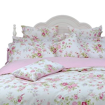 Home & Garden Round Corner Bed Princess Ruffle Lace Bedding Sets King Size Roseflower Cotton Mordend Uvet Cover Round Bedskirt Pillow Case Set Bedding Sets
