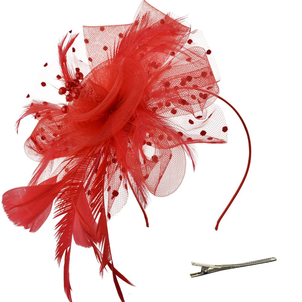DRESHOW Fascinators Hat Flower Mesh Ribbons Feathers on a Headband and a Clip