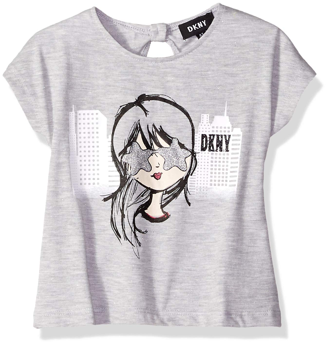 DKNY Girls' Little Love Your Selfie Top, Medium Heather Gray, 6