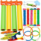 heytech 17 Pack Dive Pool Toys Blaster Torpedo Dive Rings and Diving Sticks Pool Dive Toy Set Gift 4 Water Blasters