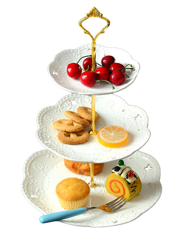 jusalpha 3 tier porcelain cake stand cupcake stand dessert stand tea party serv ebay. Black Bedroom Furniture Sets. Home Design Ideas