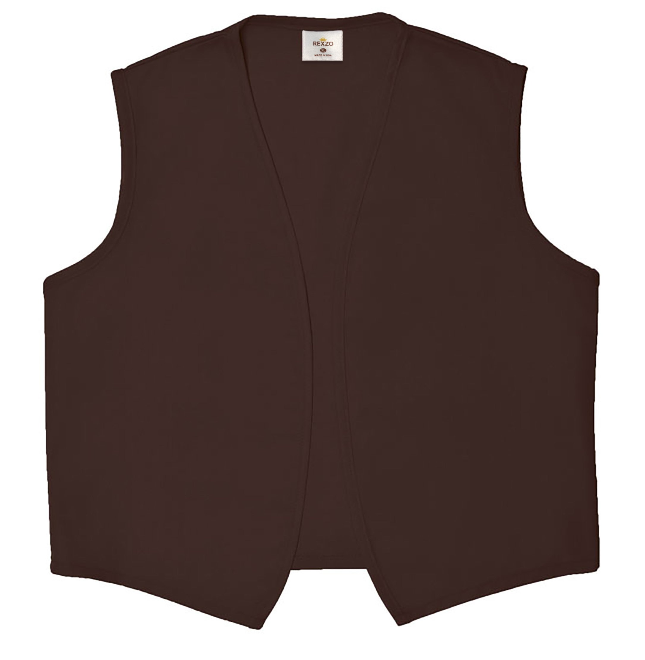 REXZO Unisex Vest No Pocket No Buttons– Made in The USA - Brown, Small