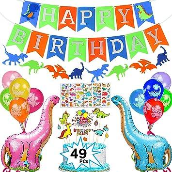 Casibecks 49 Piezas Dinosaurio Cumpleaños Decoración Dinosaurios Globos Dinosaurio Banner Dinosaurios Pegatina Cupcake Topper para Dinosaurio Fiesta ...