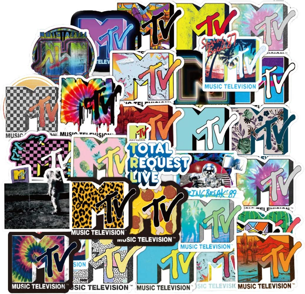 ARPA 100Pcs Cool MTV Logo Stickers for Laptops Books Cars Motorcycles Skateboards Bicycles Suitcases Skis Luggage Cup Hydro Flasks etc DXQX